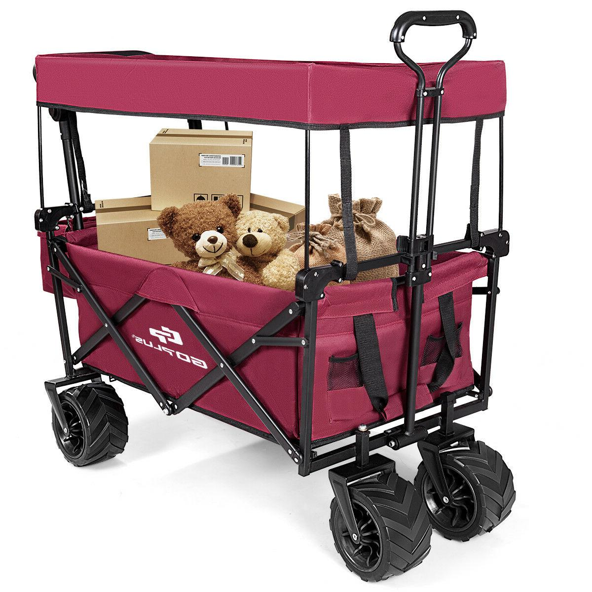 Collapsible Folding Wagon W/ Canopy Outdoor Garden Trolley Buggy