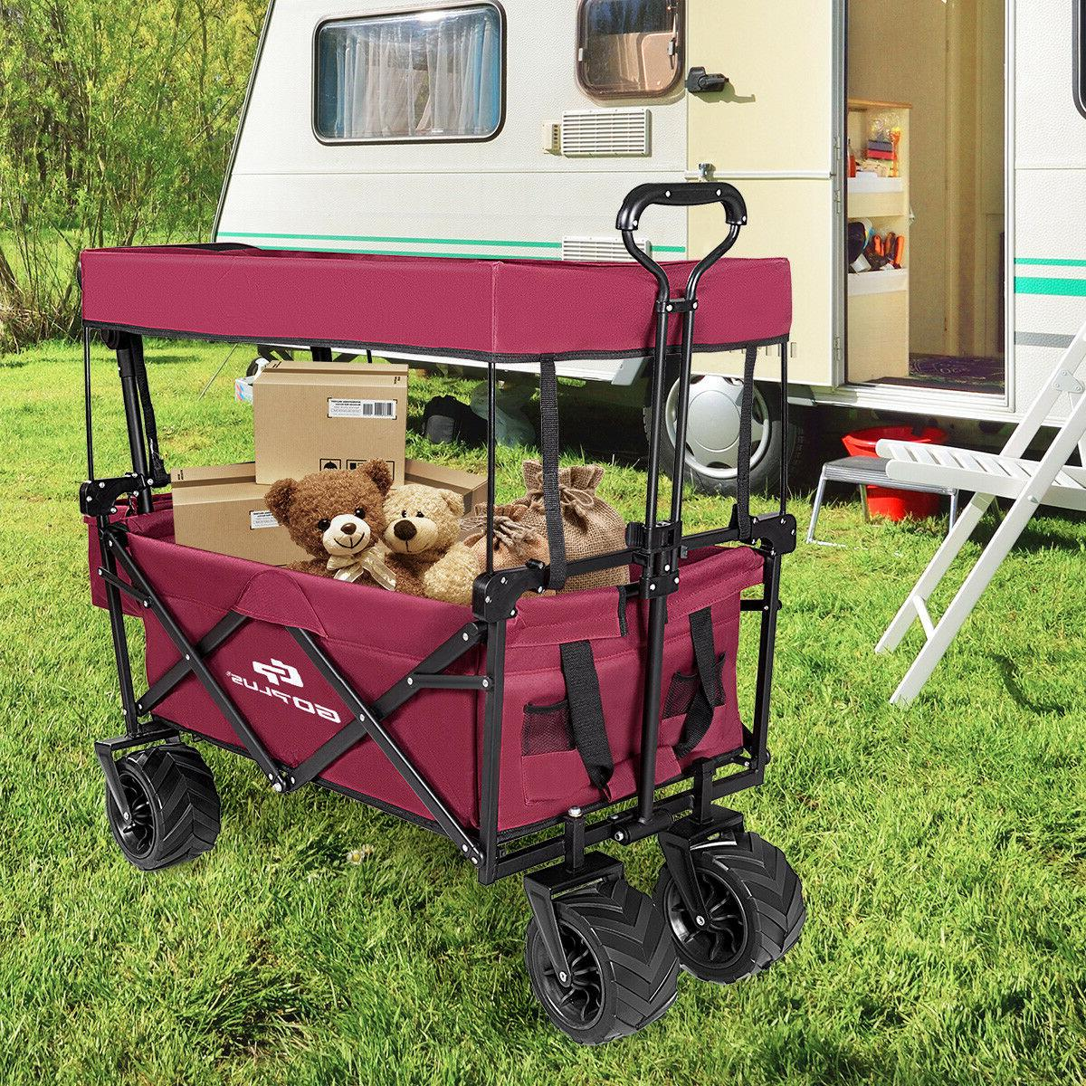 Collapsible W/ Canopy Garden Trolley