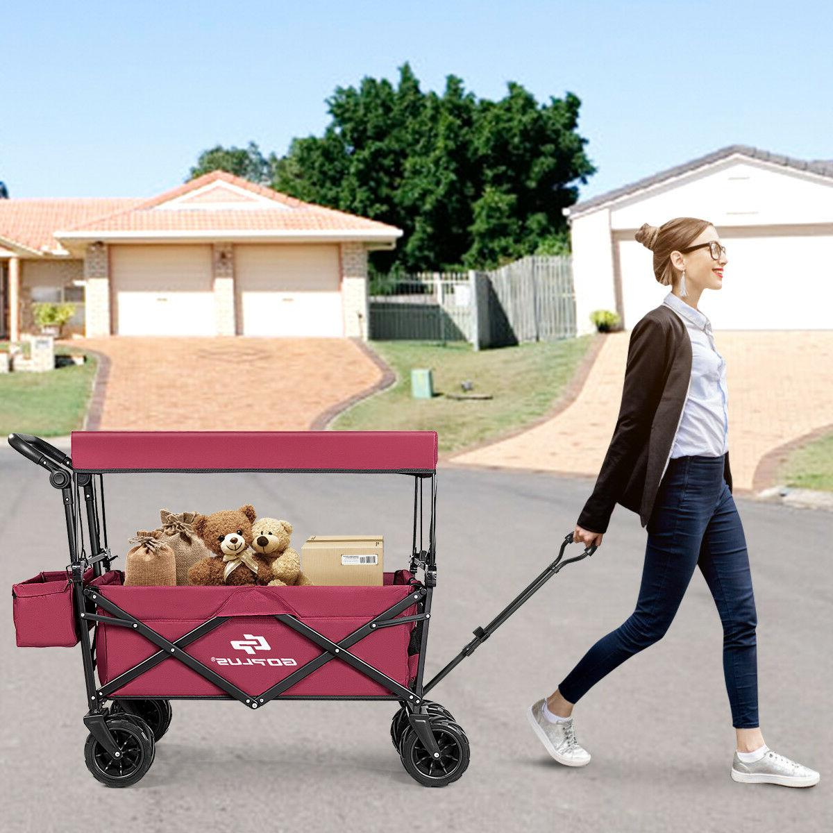 Collapsible W/ Canopy Outdoor Utility Garden Trolley Buggy