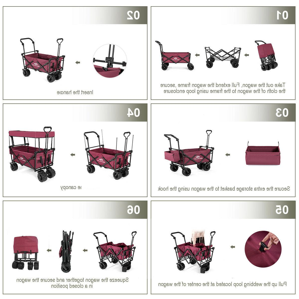 Collapsible Wagon Cart W/ Canopy Outdoor Utility Garden