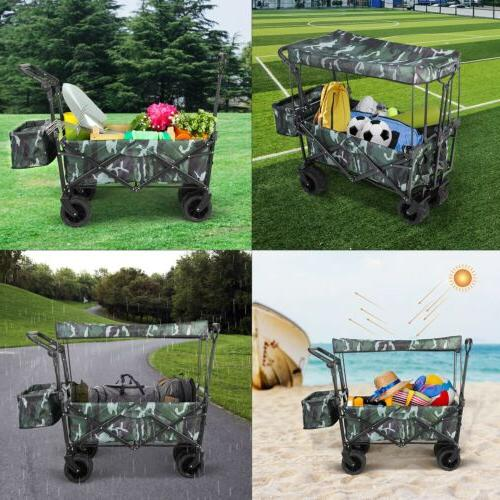 Collapsible Outdoor Wagon All-Terrain Removable Canopy