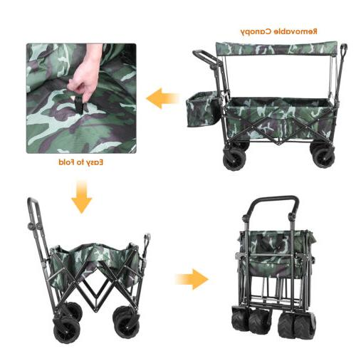 Collapsible Wagon All-Terrain Folding Cart Canopy