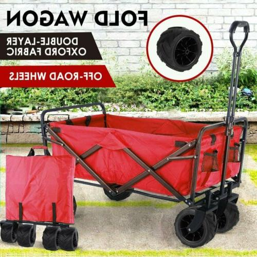 Folding Wagon Collapsible Garden Beach Utility Push Cart Hea