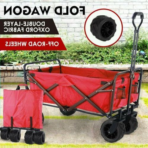 Folding Wagon Cart Sports Utility Beach Heavy Duty Wheels