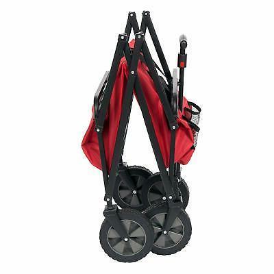 Seina Collapsible Steel Frame Folding Wagon Outdoor Garden Cart,