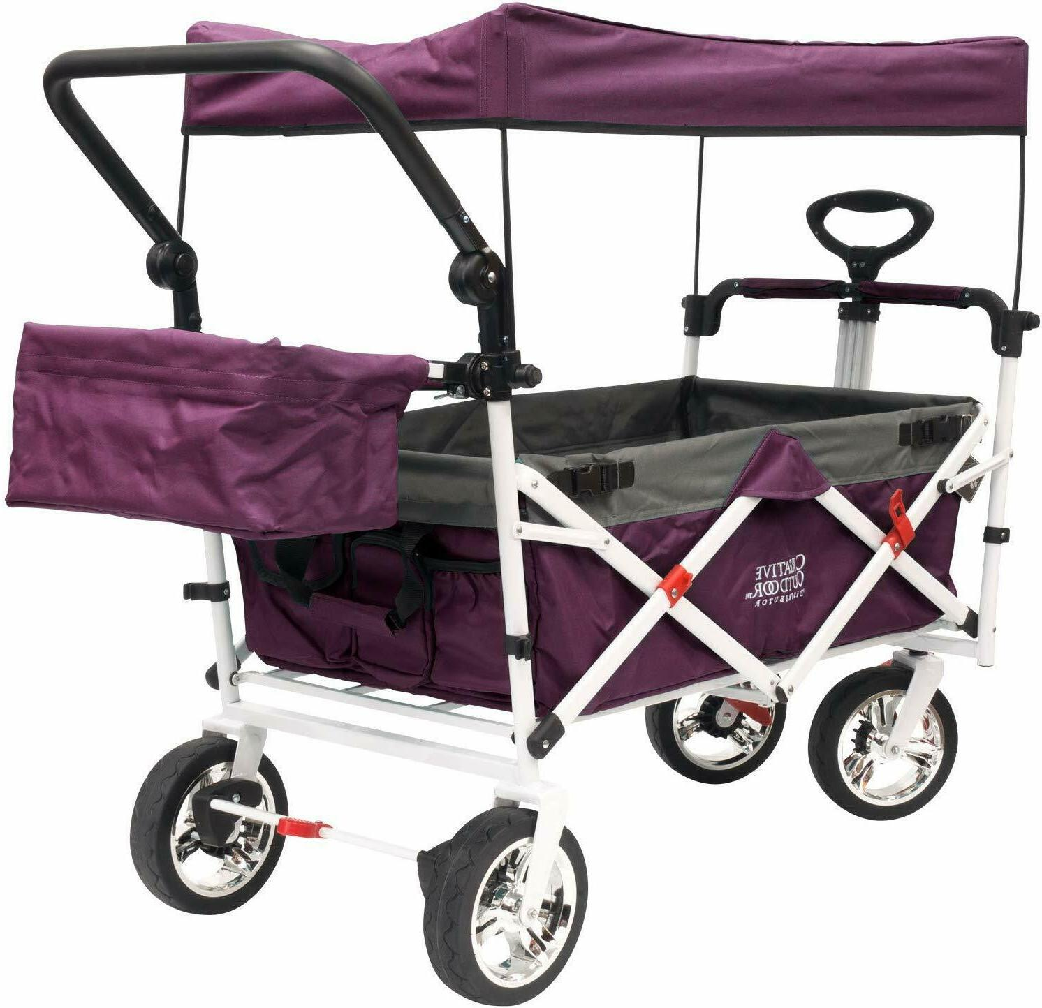 creative outdoor push pull folding collapsible wagon