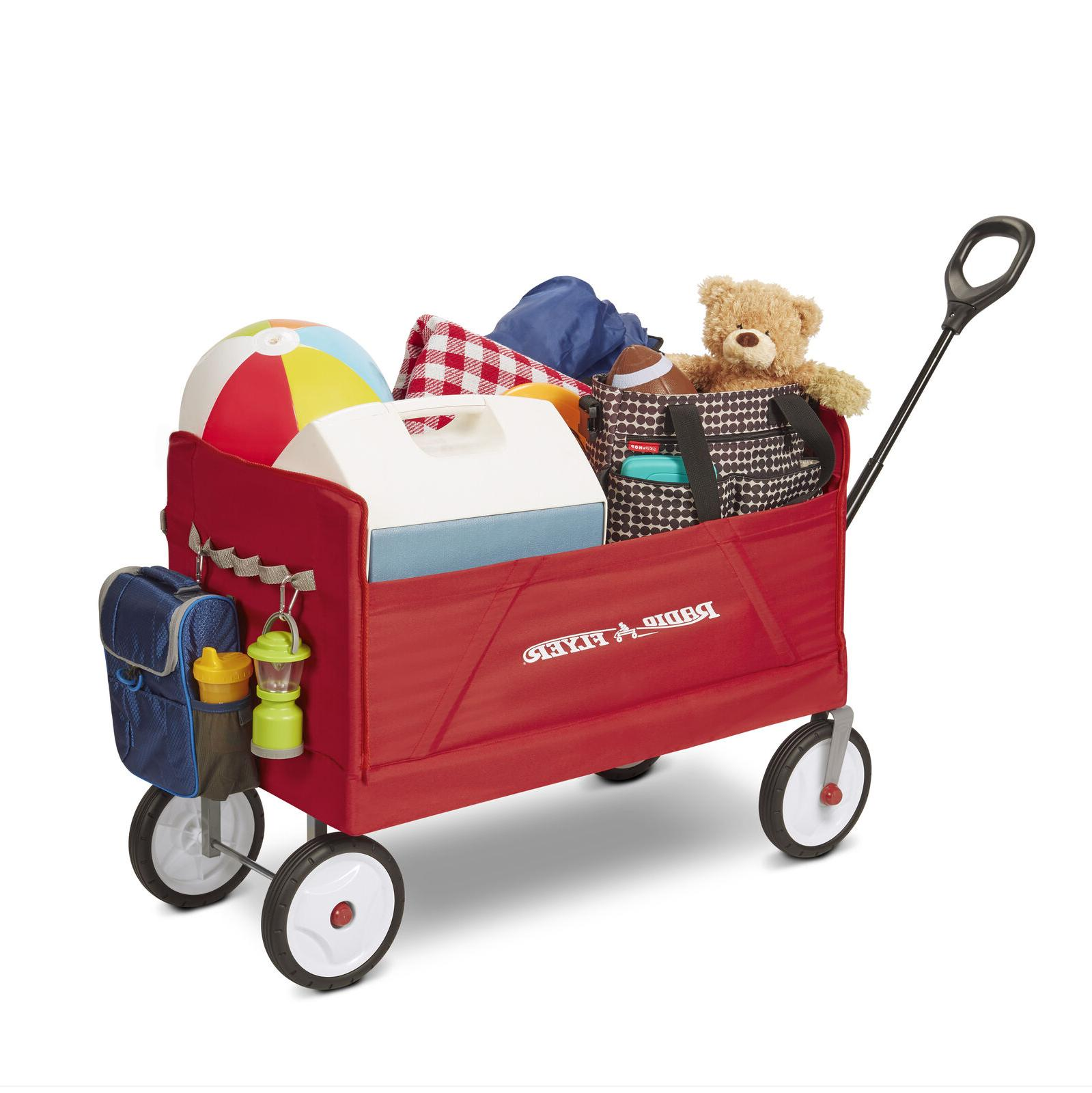EZ Fold 3 in 1 Red Wagon Padded Seat Belts Bench Quiet Ride
