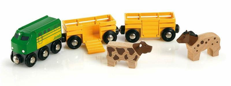 Brio Farm Animal Toy Train - Made With European Beech Wood F