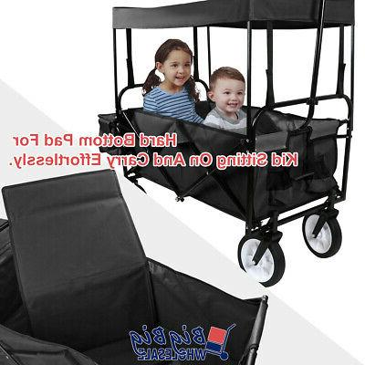 Folding Wagon Cart Storage Buggy Toy w/Pad Kids