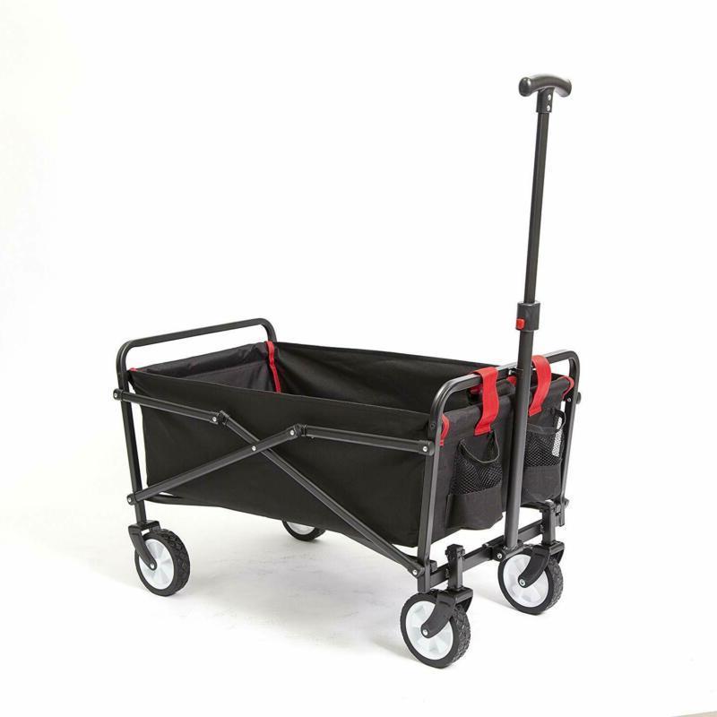 Folding Garden Cart Strong Solid Wagon Regular Black