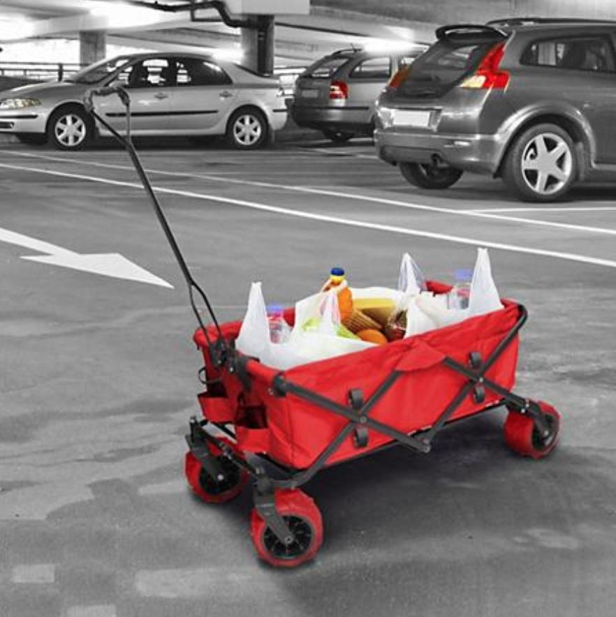 folding garden wagon carts red