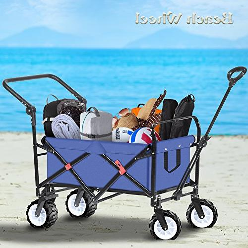 Folding Collapsible Canvas Fabric Sturdy Rolling Buggies Picnic Cart