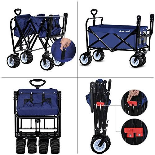 Folding Wagon Cart Collapsible Camping Grocery Canvas Fabric Portable Rolling Buggies Garden Sport Picnic Duty Cart