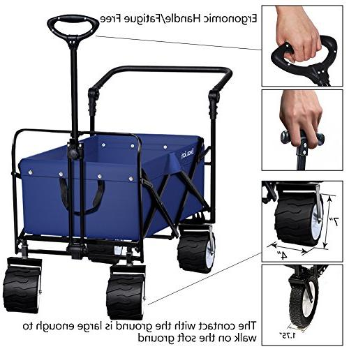 Folding Collapsible Camping Grocery Canvas Sturdy Portable Rolling Beach Sand Picnic Duty Cart
