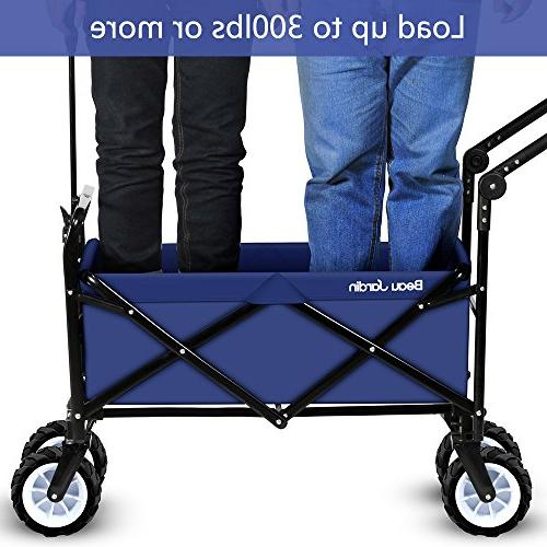 Folding Cart Collapsible Canvas Rolling Lightweight Buggies Outdoor Picnic Heavy Cart
