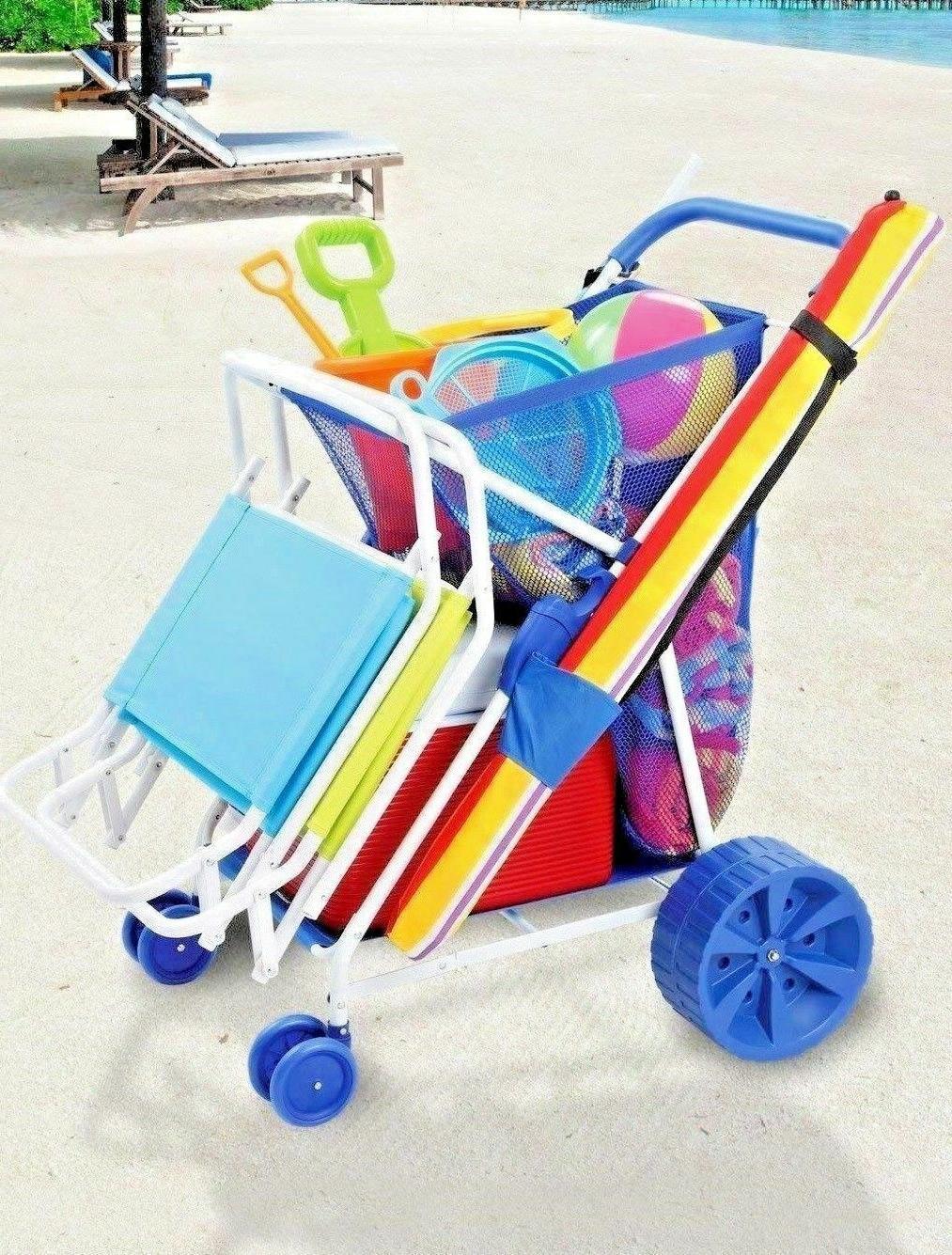 Folding Beach Cart Collapsible Outdoor Wagon Wheels