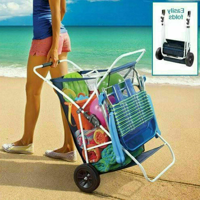 folding utility beach cart collapsible folding outdoor