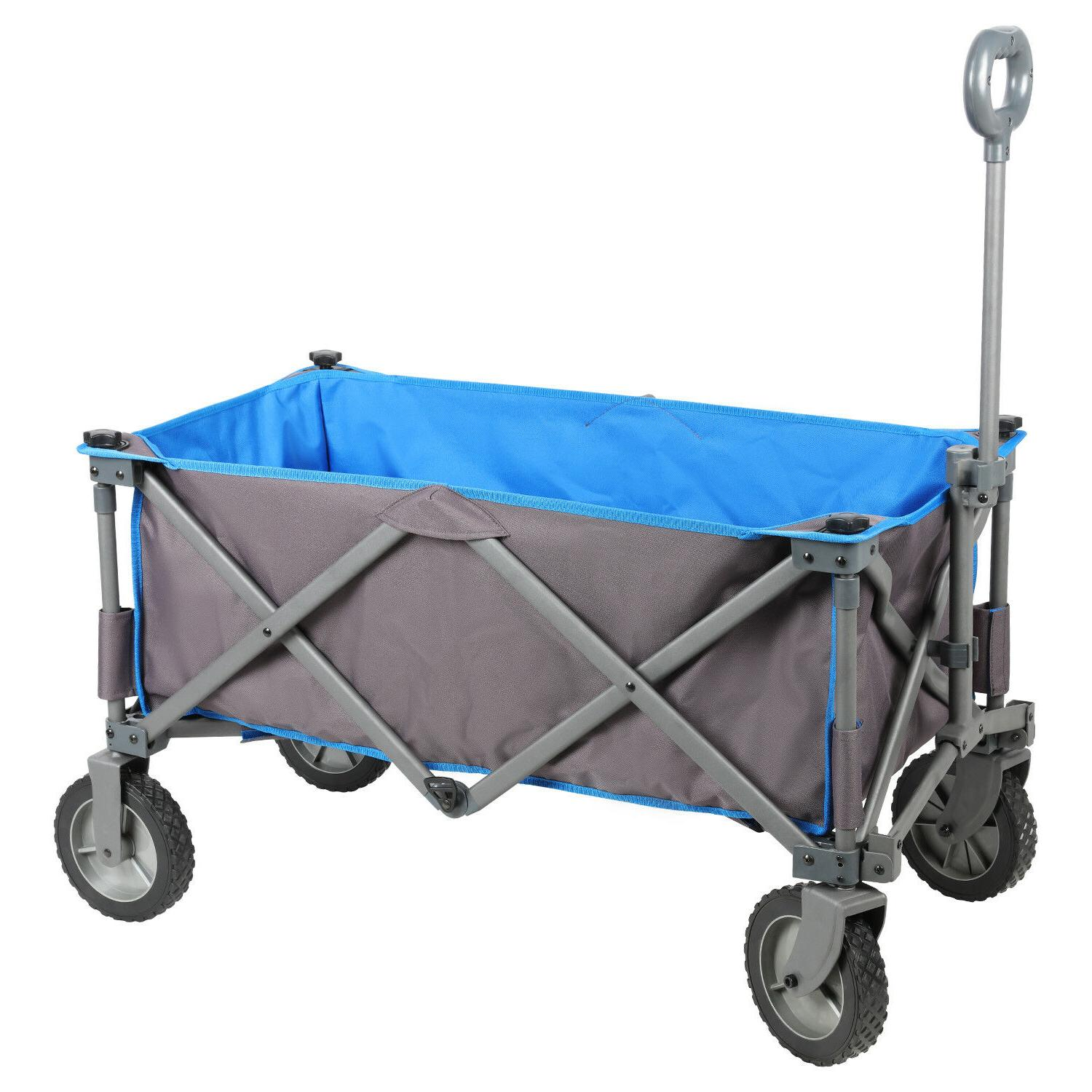 BROWN JUMBO WHEEL PUSH AND PULL HANDLE FOLDING WAGON ALL PUR