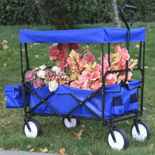 Folding Utility Wagon Foldable Collapsible Garden Beach Shop
