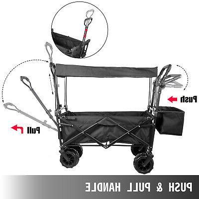Folding Wagon Collapsible Folding Garden Cart Beach Utility Black
