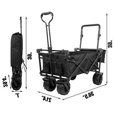 Folding Wagon Folding Cart Beach Utility Outdoor Black