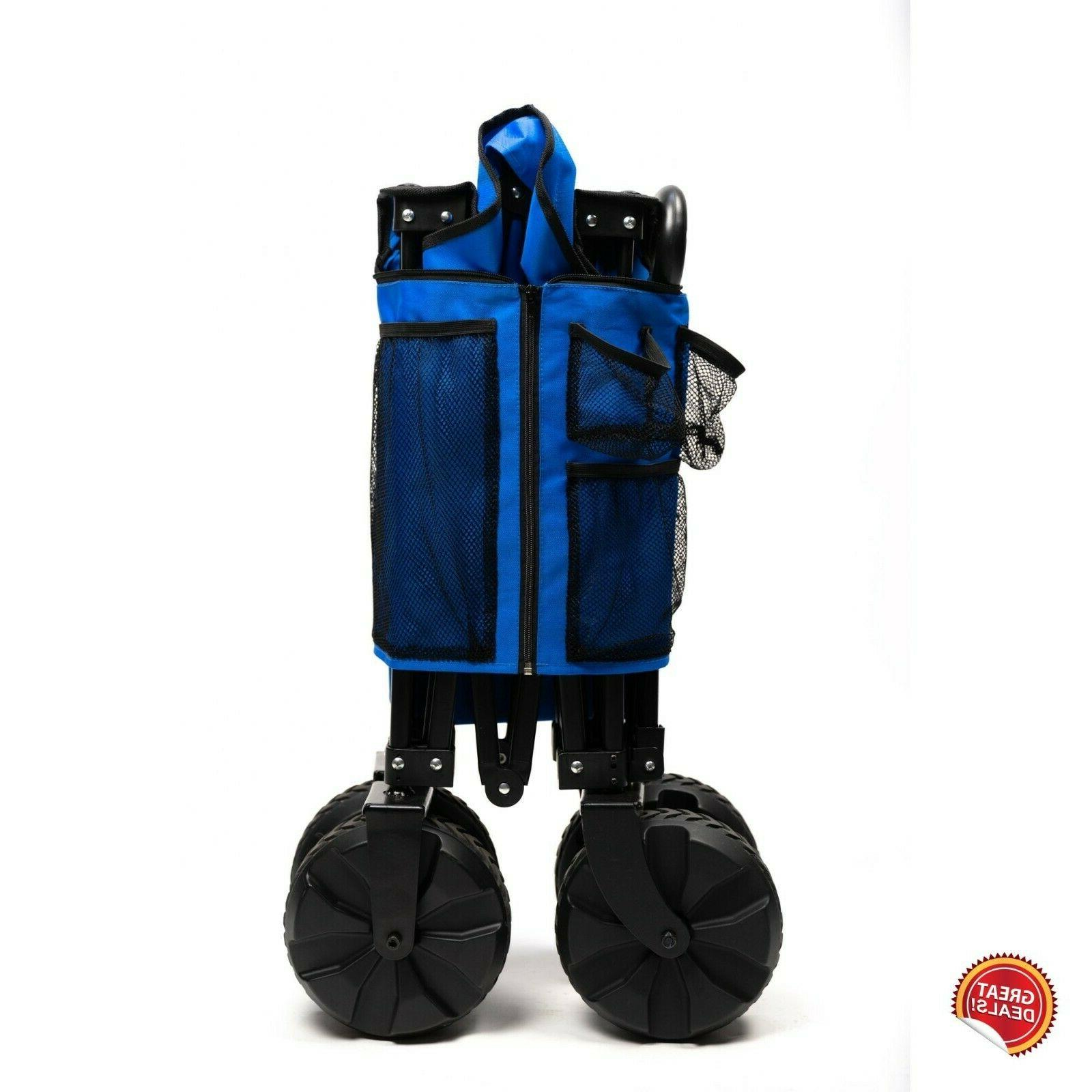 Folding Wagon Cart Sports Utility Duty Large Wheels