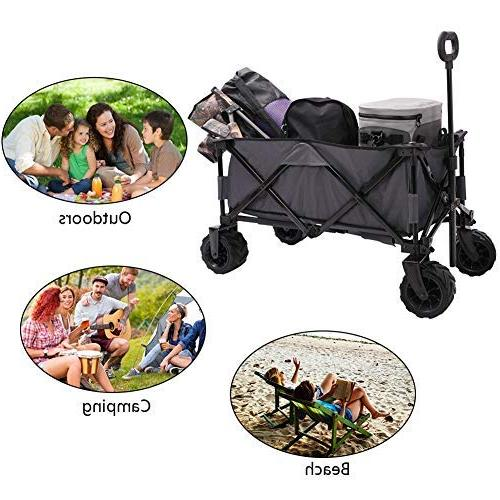 Patio Guarder Folding Heavy Utility Outdoor Wagon for Shopping, Beach Trip, Grey