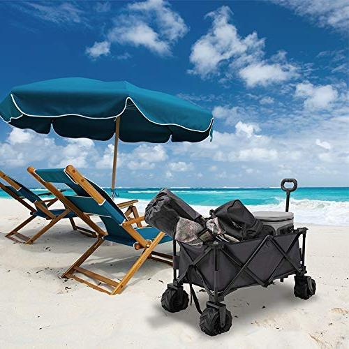 Patio Guarder Folding Cart Heavy Duty Collapsible Utility Wagon for Beach Trip, Grey