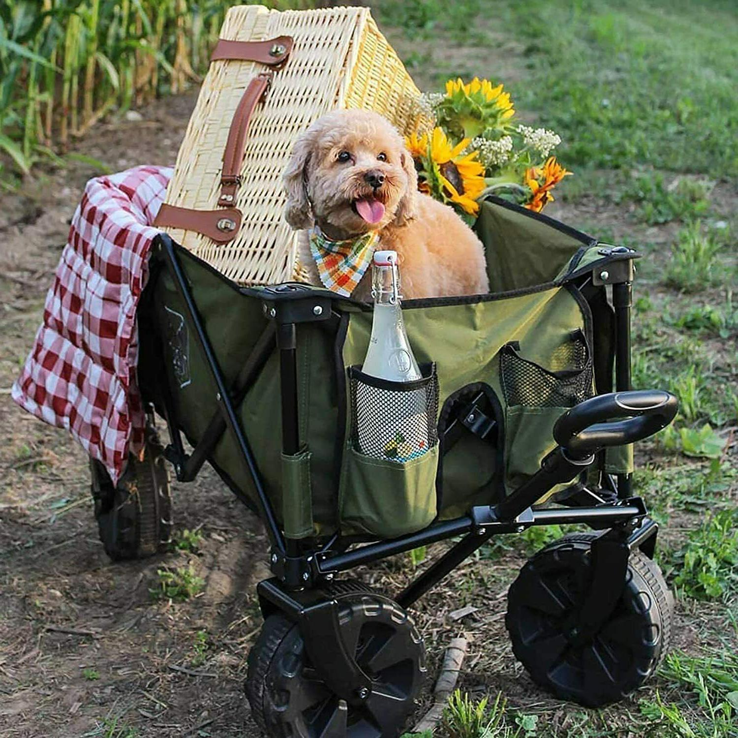 Timber Folding Wagon Collapsible Outdoor Cart for