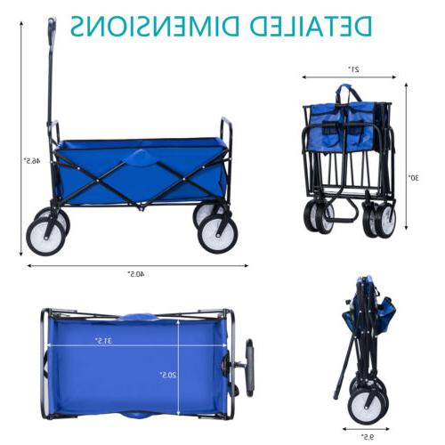 Folding Utility Cart Buggy Kid Trolley Blue
