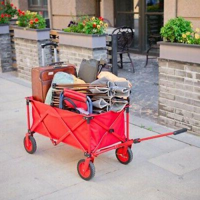 Utility Collapsible Folding Wagon Cart Outdoor Garden Shoppi