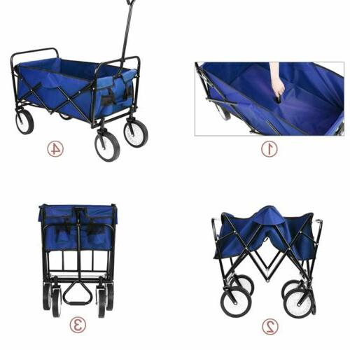 Collapsible Folding Wagon Cart Utility Garden Beach Sports