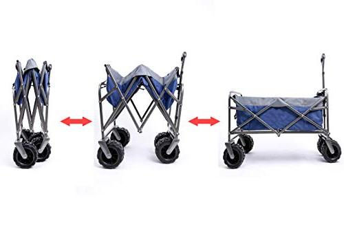 ARTPUCH Folding All-Terrain Collapsible Utility Heavy and Outdoor Big Wheels Navy
