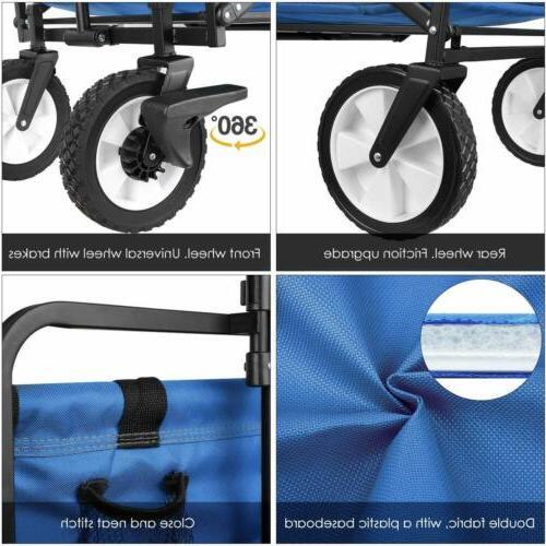 Heavy Duty Folding Collapsible Garden Utility Cart Portable Brakes