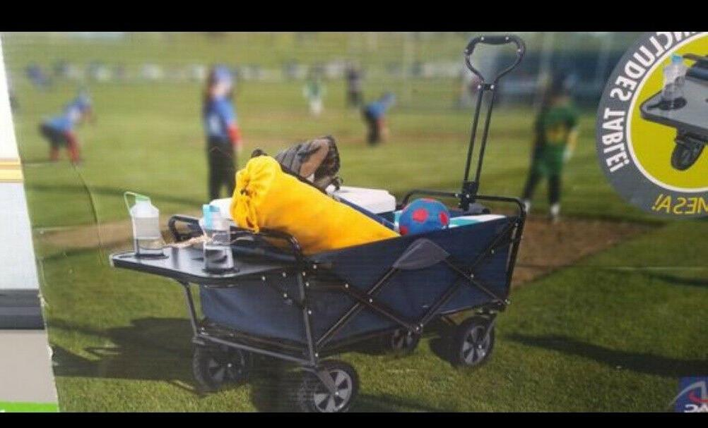 new folding wagon with table blue