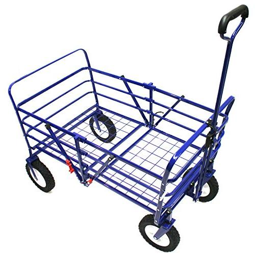WonderFold Outdoor Generation 2-in-1 Heavy Folding Wagon Utility Cart with Polyester Basket