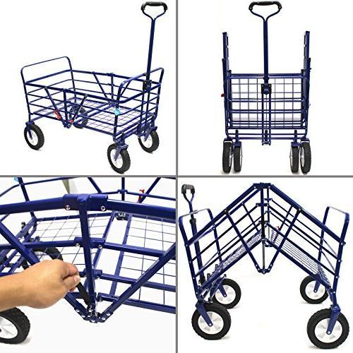 WonderFold 2-in-1 Folding Wagon Utility Cart Basket