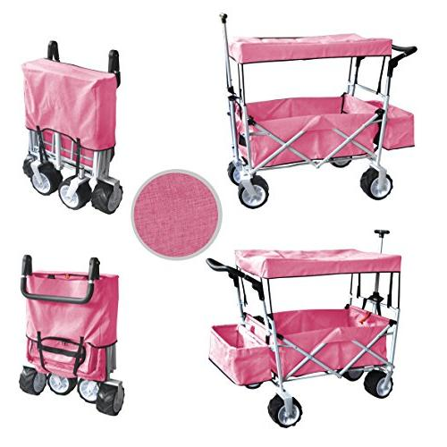 PINK JUMBO AND HANDLE WAGON ALL UTILITY CART OUTDOOR SPORT WITH COVER ICE COOLER - EASY NO TOOL NECESSARY