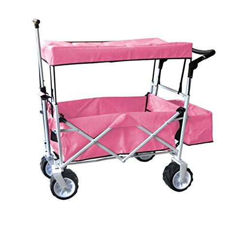 PINK WHEEL PUSH AND HANDLE CART OUTDOOR SPORT COLLAPSIBLE WITH CANOPY ICE EASY SETUP NECESSARY