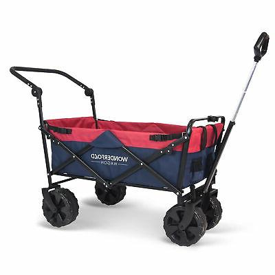 pull and push collapsible folding utility wagon