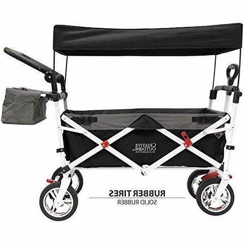 push pull collapsible folding wagon black
