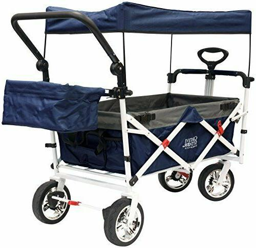 push pull folding collapsible wagon navy