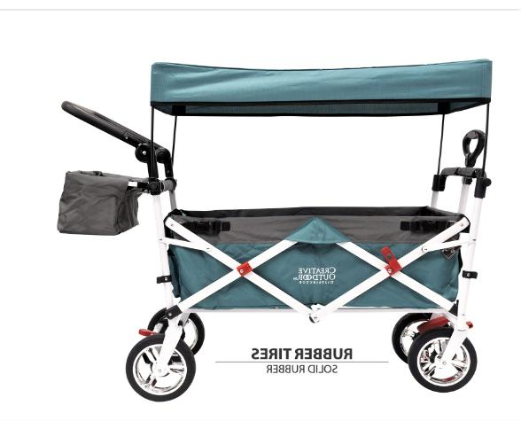 push pull folding collapsible stroller wagon teal