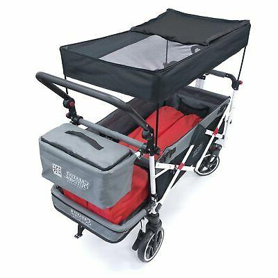 Push Pull TITANIUM SERIES Folding Wagon with Canopy Black
