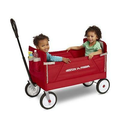 Ride-On Cart 3-in-1 EZ Fold Wagon Padded Seat with Seat Belt