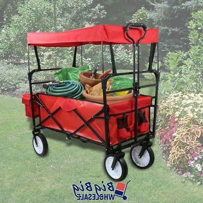 red collapsible folding wagon cart