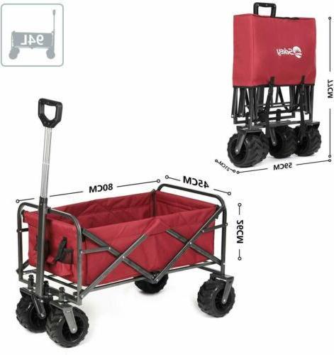 Folding Wagon Beach Camping Garden Outdoor Utility Cart w/ A