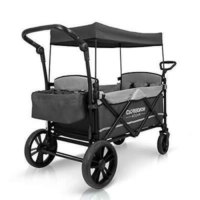 Stroller 2 Passenger Baby Toddler Kids Gray Push Handle New
