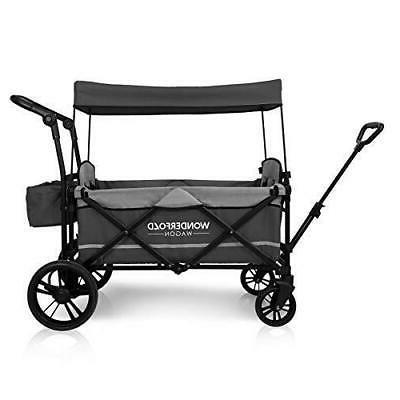 Stroller Wagon 2 Passenger Baby Gray Push Pull Handle New