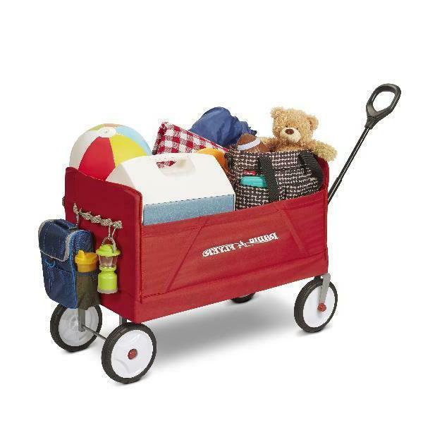 Full Size Foldable Wagon Flatbed Hauling 2 Rider/ Bench Seat